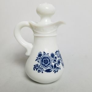 Old Town Blue Delft milk glass cruet bottle